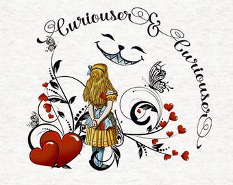 Alice In Wonderland Fabric | Upholstery | Sewing | Craft | Printed Fabric Panels - Curious and Curious.. Alice | 8x8 inch, 12x12 inch