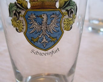 Schweinfurt Glasses Set of 6 Beer Steins Germany Vintage