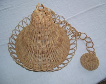 Wicker Pendant Light Shade and Swag Wicker Lamp Shade Vintage