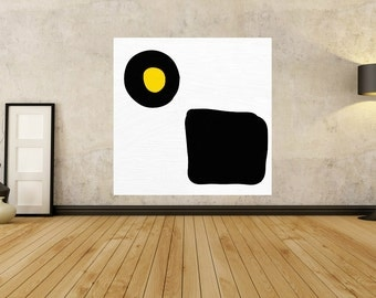 Large Abstract Painting - MINIMALIST Black White Painting - 20 30 40 50 60 PAINTING - Yellow - Contemporary yellow painting yellow Wall Art