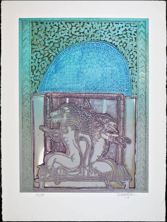 Collectible Vintage Print Modern Art Serigraph Silkscreen, Limited Edition 75 On Pencil Signed
