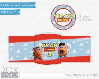 Toy Story Mr. Potato Mini Pringles Labels, Mr & Mrs Potato Printable Labels, Digital Design