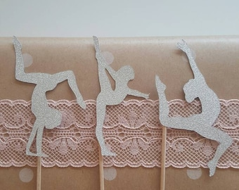 Set of 12 gymnast cake cupcake toppers girl first birthday gold silver glitter gymnastics