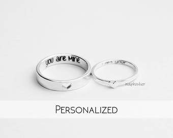 Tiny hearts | Promise Rings | Couples Ring | Promise Rings For Couples | His and Her Promise Rings | Personalized | Gift For Him