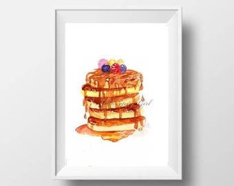 blueberry pancakes watercolor painting abstract food print country kitchen wall art deco restaurant  decoration minimalist poster sign decor