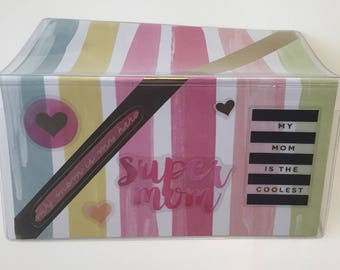 SUPER MOM; My mom is my hero - Vinyl Checkbook cover,Scrapbook style,Duplicate or Single Checks,Ready to Ship,One of a Kind