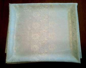 Vintage NOS Floral Rayon Polyester Damask Style Rectangle Off White  Ornamental Tablecloth 58u201dW X