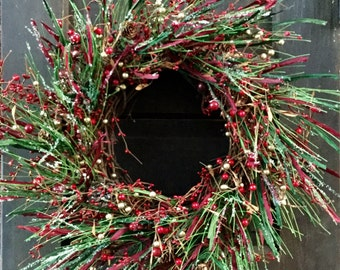 Christmas Wreath with Red & Gold Pip Berries and Icy Pine Stems, Winter Wreath, Pip Berry Wreath, Holiday Wreath, Country Wreath, Free Ship