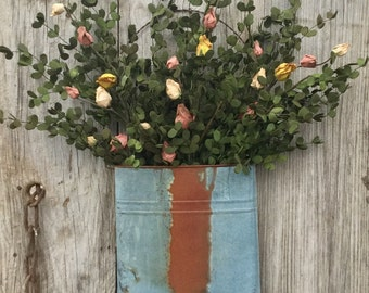 Boxwood and Rosebud Floral Arrangement in Primitive Wall Pocket, Metal Wall Pocket Floral Arrangement, Summer Floral Arrangement, Free Ship