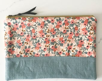 Large clutch/ cosmetics bag HANDMADE rifle paper co. small floral