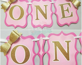 """High chair banner """"ONE"""" with bows"""
