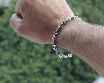 Mens  .925 Sterling Silver Skulls Bracelet handmade.