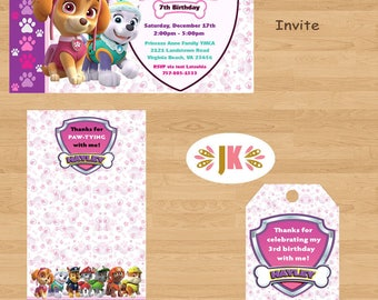 Paw Patrol Girl Birthday Invitations  and more... DIGITAL FILE (S) UPRINT