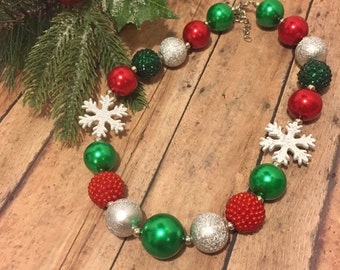 Christmas necklace - Holiday necklace - Toddler jewelry - chunky necklace - bubblegum necklace - Christmas Time - Christmas photo prop