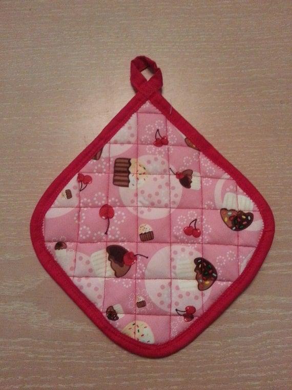"Handmade "" Pink Cupcake Print "" Potholder"