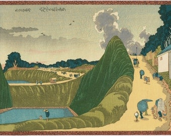 "Japanese Ukiyo-e Woodblock print, Hokusai, ""Sight as Ushigafuchi, Kudan"""