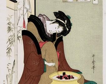 "Japanese Ukiyo-e Woodblock print, Utamaro, ""Naniwaya Okita"""