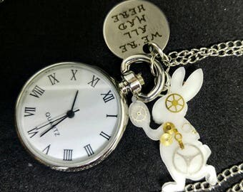 Alice in Wonderland - pocket watch necklace with resin steampunk style White Rabbit and stamped quote pendant
