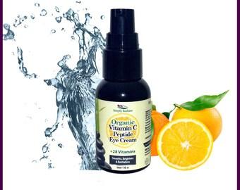 AntiAging Eye Serum, Organic Vitamin C Peptide Skin Brightening Eye Cream | Organic Skincare | Vegan Skincare