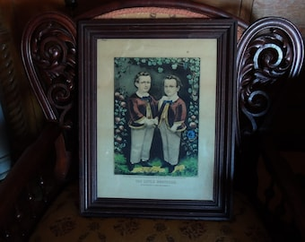 "Antique Currier & Ives Little Brothers Lithograph  dtd 1865 12""by 16"" with Frame"