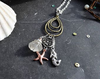 Vintage style boho pendant with Seaglass and mixed metal beach charms