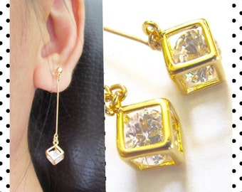 1/20 14KT Gold Filled Thin Bar Dangle Clip-on Earrings |6D| Crystal In Cube Clipon Earrings Wedding Bridal Clip Earrings Invisible Clip-ons