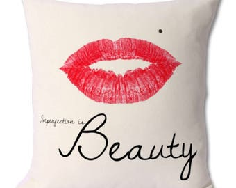 Marilyn Monroe lips cushion decorative pillow with quote imperfection is beauty gift for her home decor cover and pillow