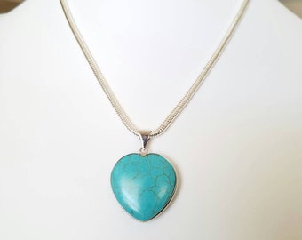 Heart Necklace, Magnesite Necklace, Gemstone Necklace