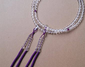 Purple Silk Woven Juzu Nenju Strand Beads Japanese Buddhist Handicraft,8mm Clear Top Quality Crystal Material