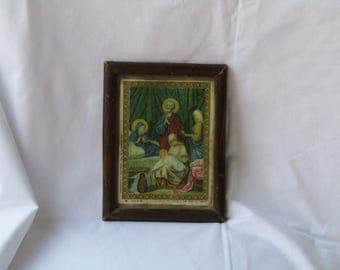 1939 Greek framed Orthodox Christian icon lithograph print presenting The Nativity of Virgin Mary - Orthodox Christian lithography print