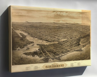 Canvas 24x36; Bird'S-Eye View Map Of Victoria, Vancouver Island, B.C. 1878