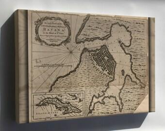 Canvas 24x36; Map Of Havana, Cuba 1762