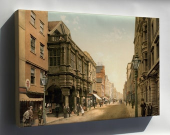 Canvas 24x36; High Street, Exeter, England, Ca. 1895