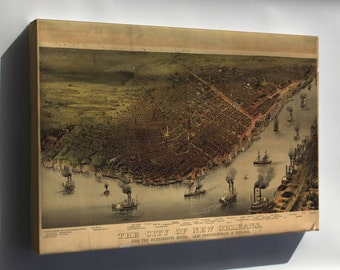 Canvas 24x36; Map Of New Orleans & Mississippi River 1885