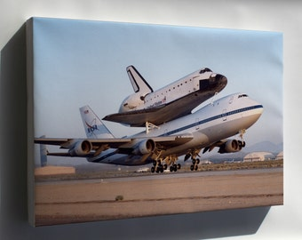 Canvas 16x24; Nasa Modified Boeing 747 With The Space Shuttle Endeavour
