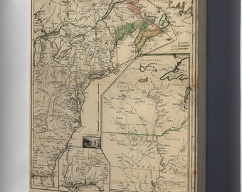 Canvas 16x24; Map Of New England & Canada 1755 P2