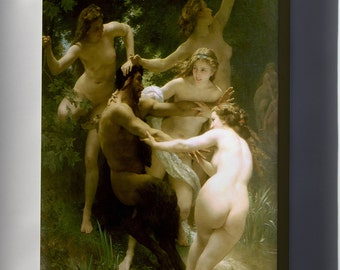 Canvas 16x24; Nymphs And Satyr  William-Adolphe Bouguereau (1825-1905) - Nymphs And Satyr (1873