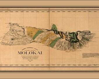 16x24 Poster; Map Of Molokai Hawaii 1897