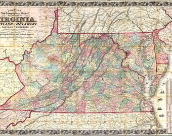 16x24 Poster; Topography Map Virginia Maryland Delaware 1862 P3
