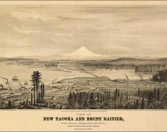16x24 Poster; Birdseye View Map Tacoma And Mount Rainier, Puget Sound, Washington Territory 1878