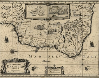 16x24 Poster; Map Of Brazil 1630