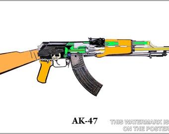 16x24 Poster; Ak-47 Schematic