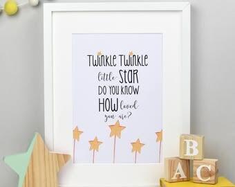Twinkle twinkle little star - Nursery print - Baby gift - Baby print - Baby nursery gift - Children's prints - New baby print