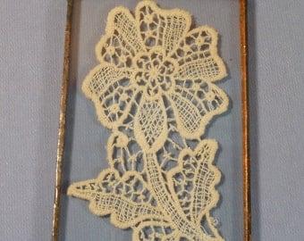 Unique Vintage Lace Flower Encased in Glass Frame