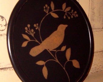 lazy susan spinning tray wooden turntable ~ black tan ~ whimsical crow bird on pip berry branch