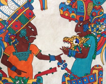 Amazing hand painting in amate papper. Mexican art.
