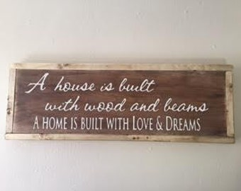A House is Built with Wood & Beams a Home is built with Love and Dreams
