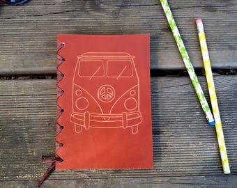 Agenda leather van, vintage calendar, Leather diary, Retro van, leather agenda, notebook, notebook, vintage Notebook