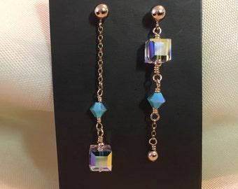Swarovski Crystals & 14 KT Gold Filled Drop Earrings//Abstract Earrings/Fine Jewelry/Asymmetrical Jewelry