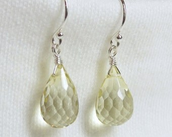 AAA LEMON QUARTZ faceted gem stone teardrop briolette sterling silver drop earrings